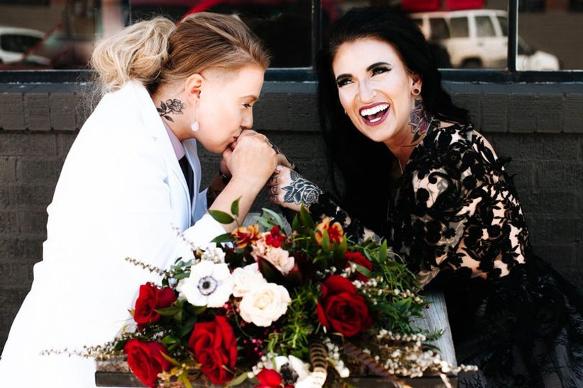 brides laughing together