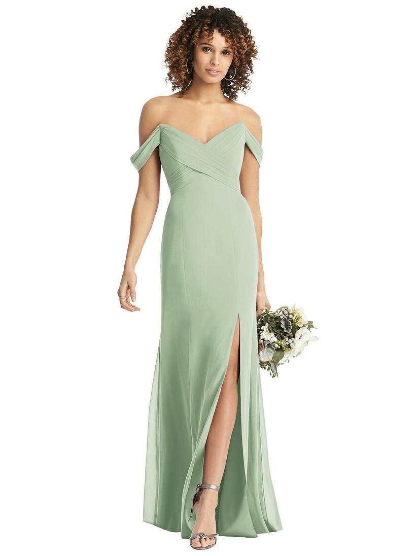 Model wearing pastel green off-the-shoulder bridesmaid dress with leg slit