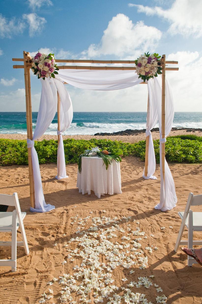 wedding ceremony chuppah on beach in kauai