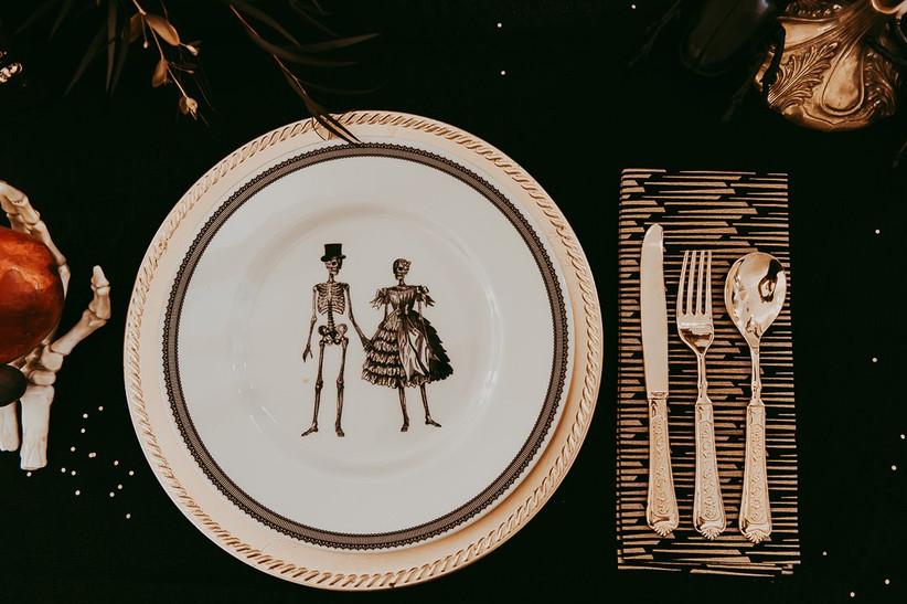 gothic wedding place setting skeleton plates