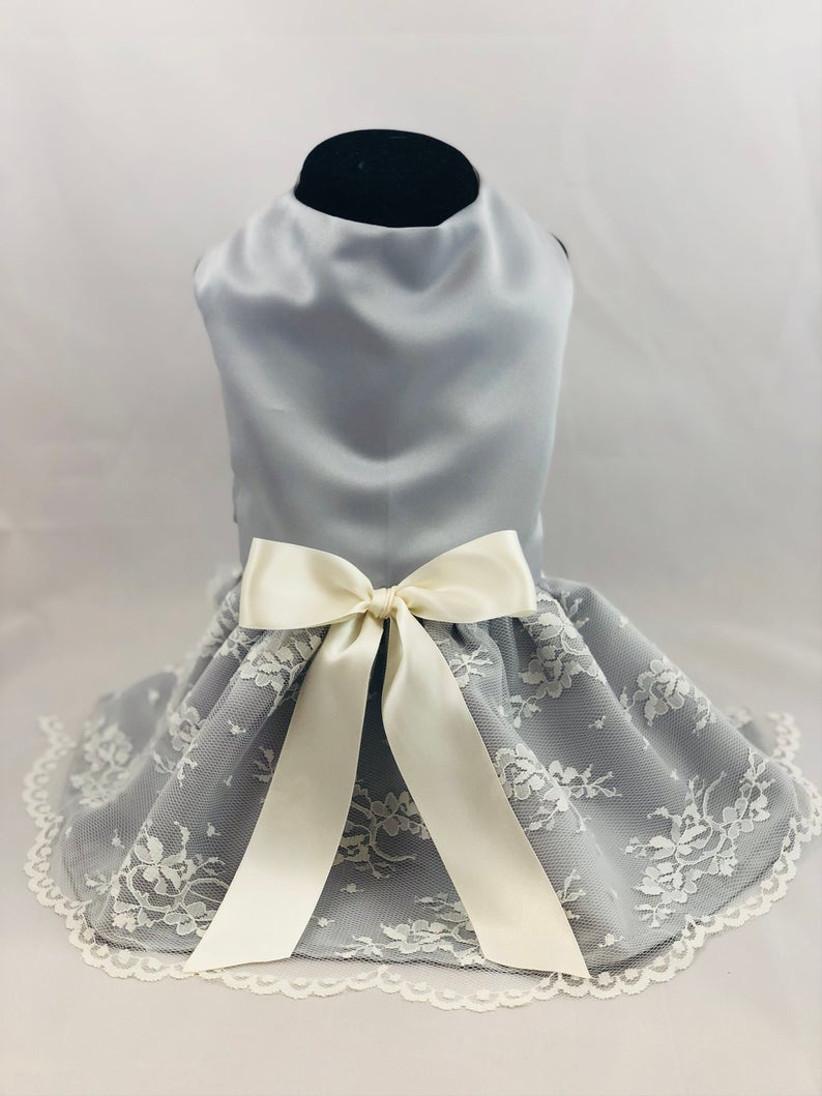 gray and ivory wedding dress