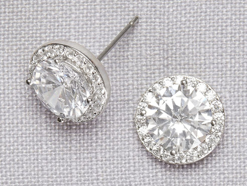 Solitaire crystal stud bridesmaid earrings