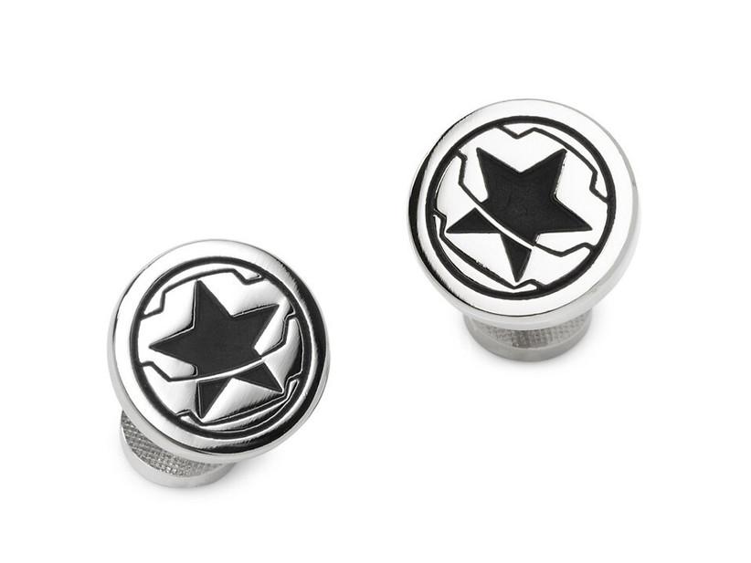 Winter Soldier motif round wedding cuff links