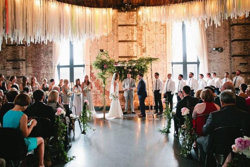 indoor wedding ceremony in industrial space