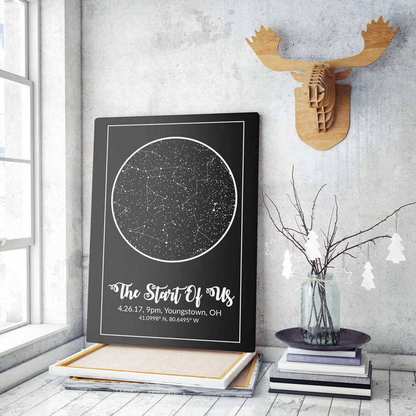 Framed map of the night sky with title The Start of Us personalized with date, time, and location on display