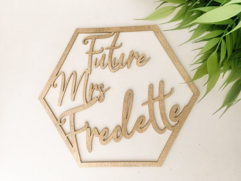 gold hexagon future mrs sign