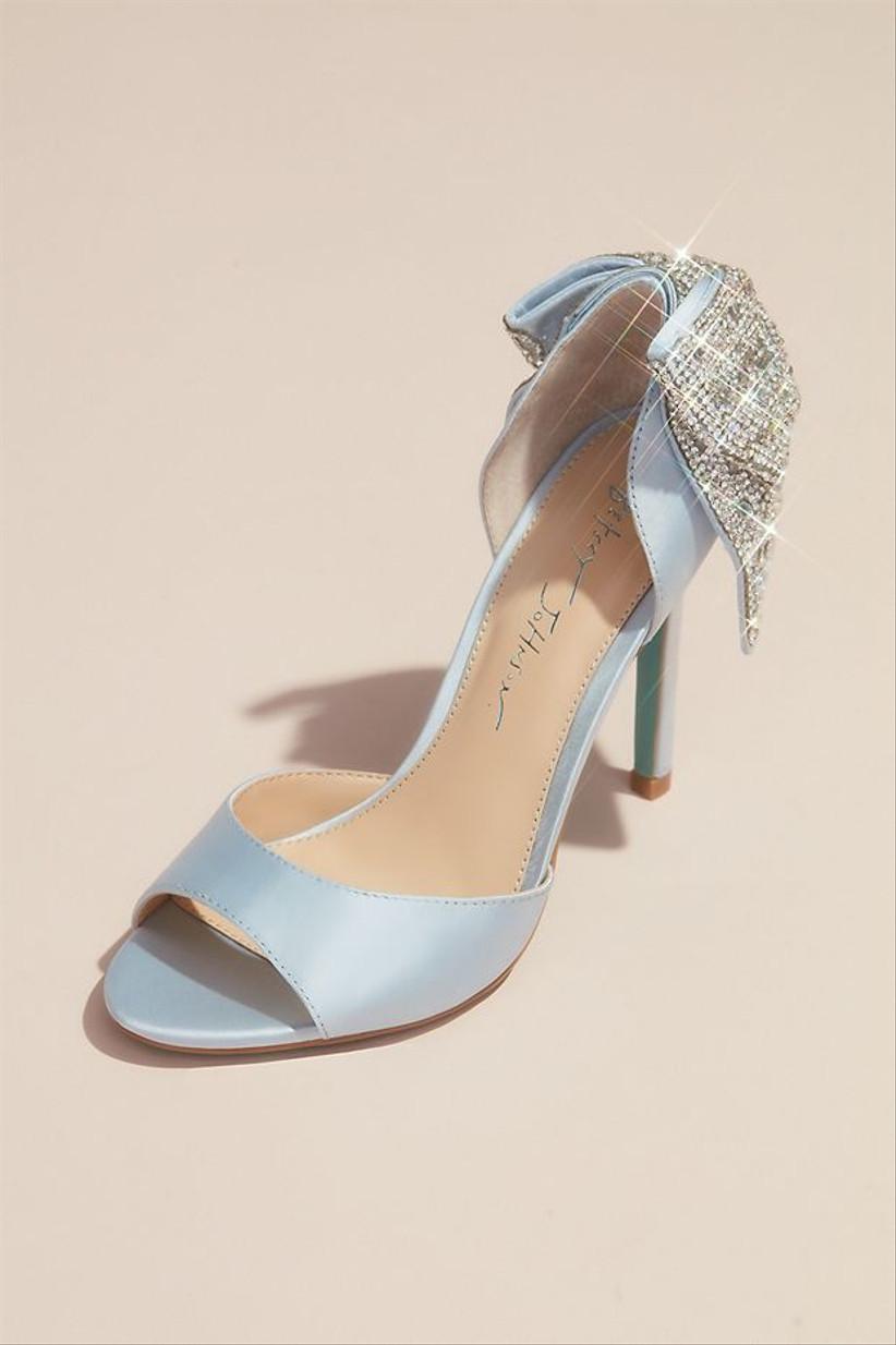 peep toe blue wedding shoe with silver rhinestone bow at heel