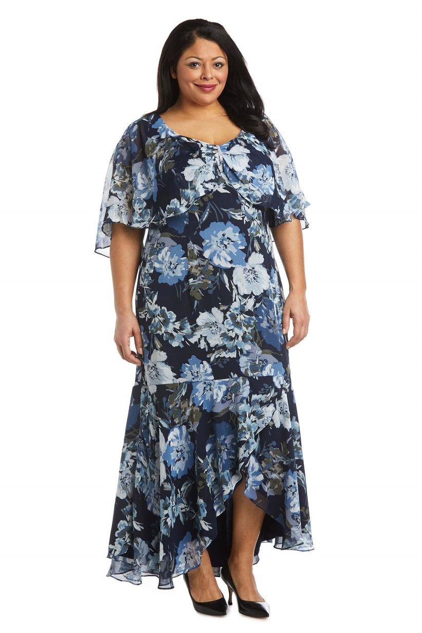 High-low maxi fall wedding guest dress with blue florals