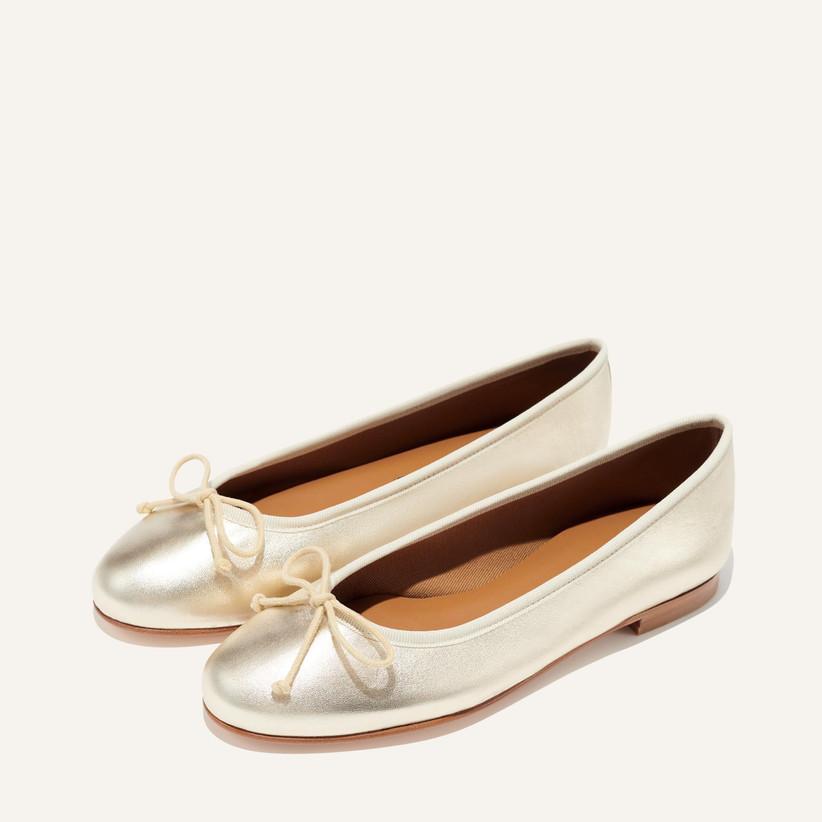 light gold leather ballet flats