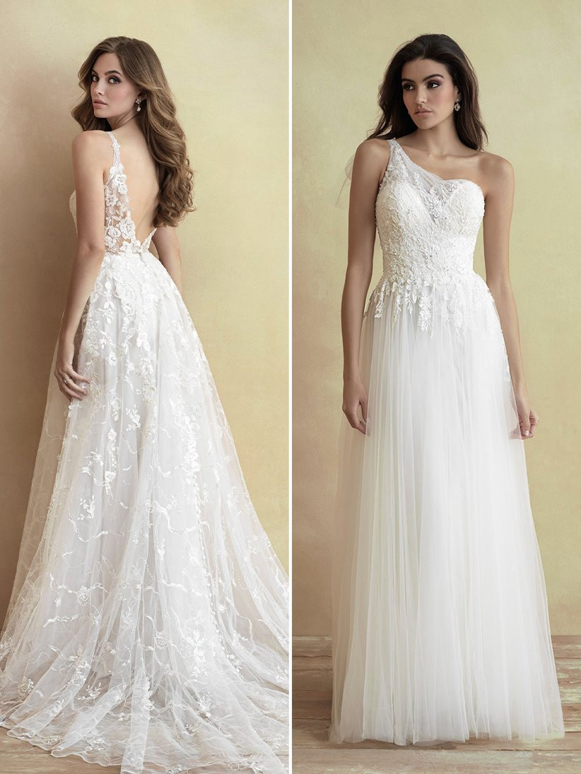 Allure Bridals lace A-line wedding dress and one-shoulder lace wedding dress