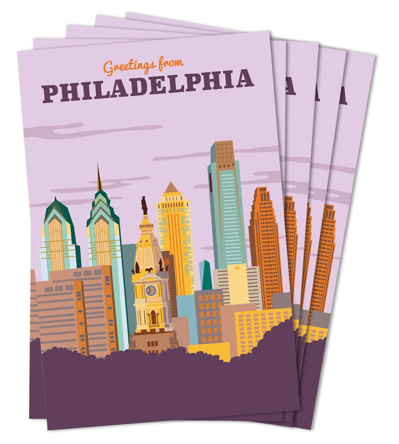 Philadelphia postcards destination wedding welcome bag idea
