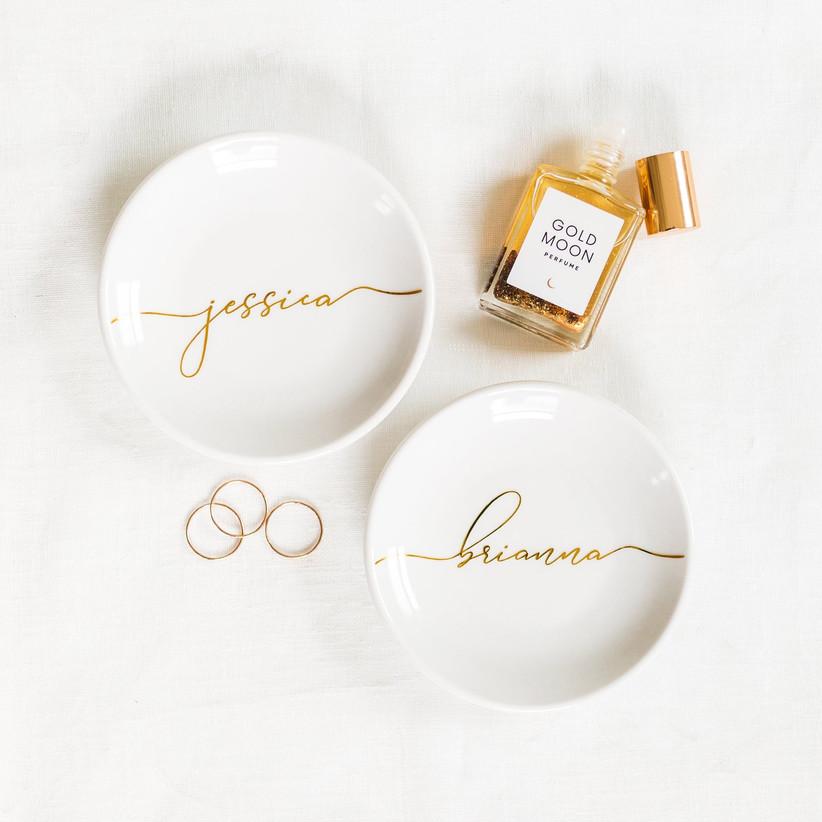 Elegant trinket dish personalized in gold lettering