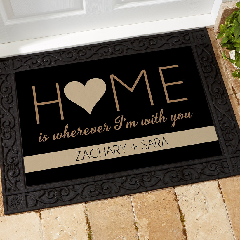 Personalized Home Is Wherever I'm With You doormat housewarming gift