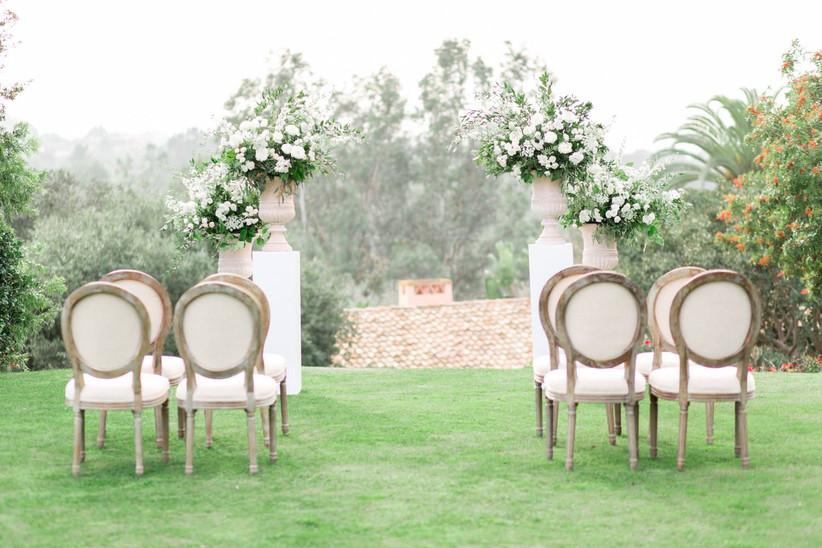 elegant wedding arch outdoor garden ceremony backdrop