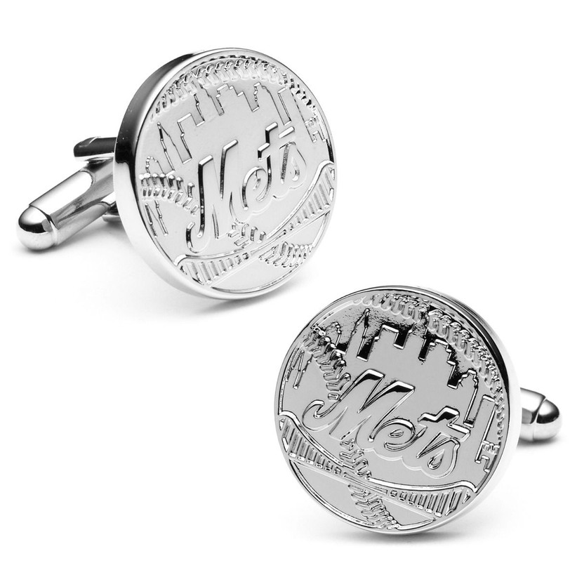 Silver NY Mets cuff links groomsmen gift idea