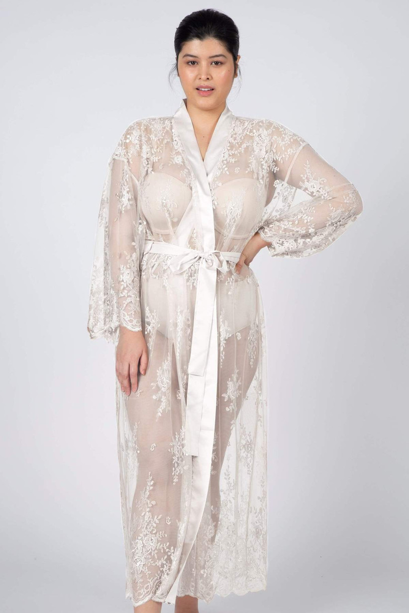 Long sheer white bridal robe with embroidery