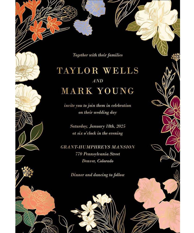 Inexpensive black floral wedding invitation