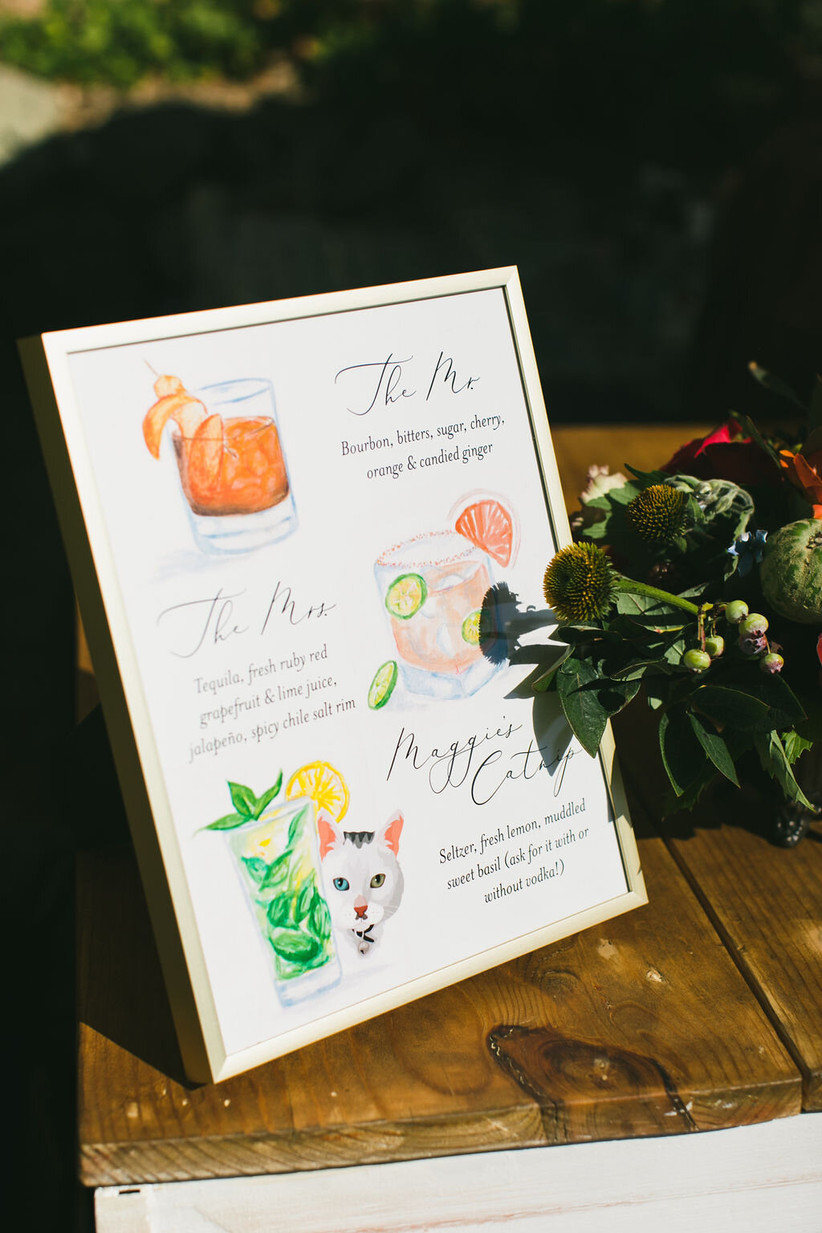 wedding signature drink sign with colorful watercolor illustrations of cocktails and ingredients written in calligraphy