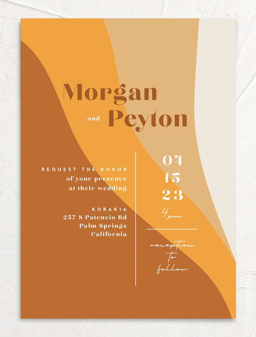 retro boho fall wedding invitation 60s style color blocking in light and dark yellow tones