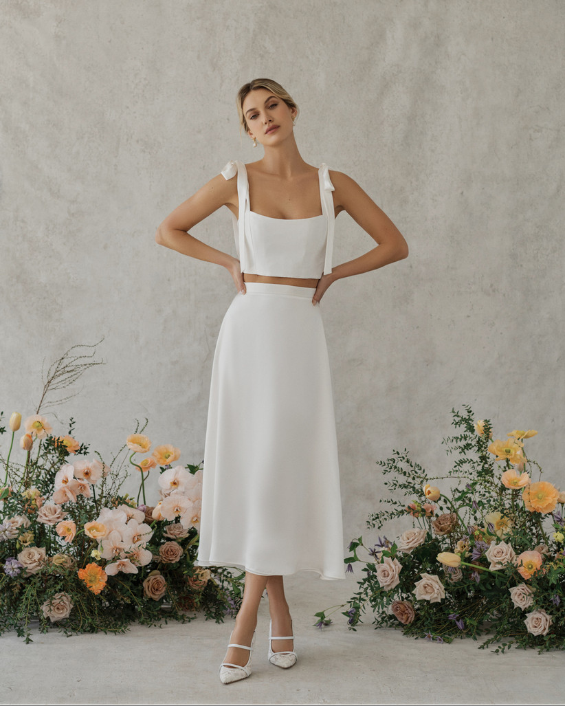 bridal crop top with matching midi skirt