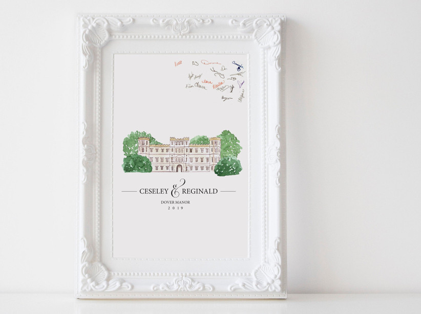 Custom venue illustration signed by guests at wedding