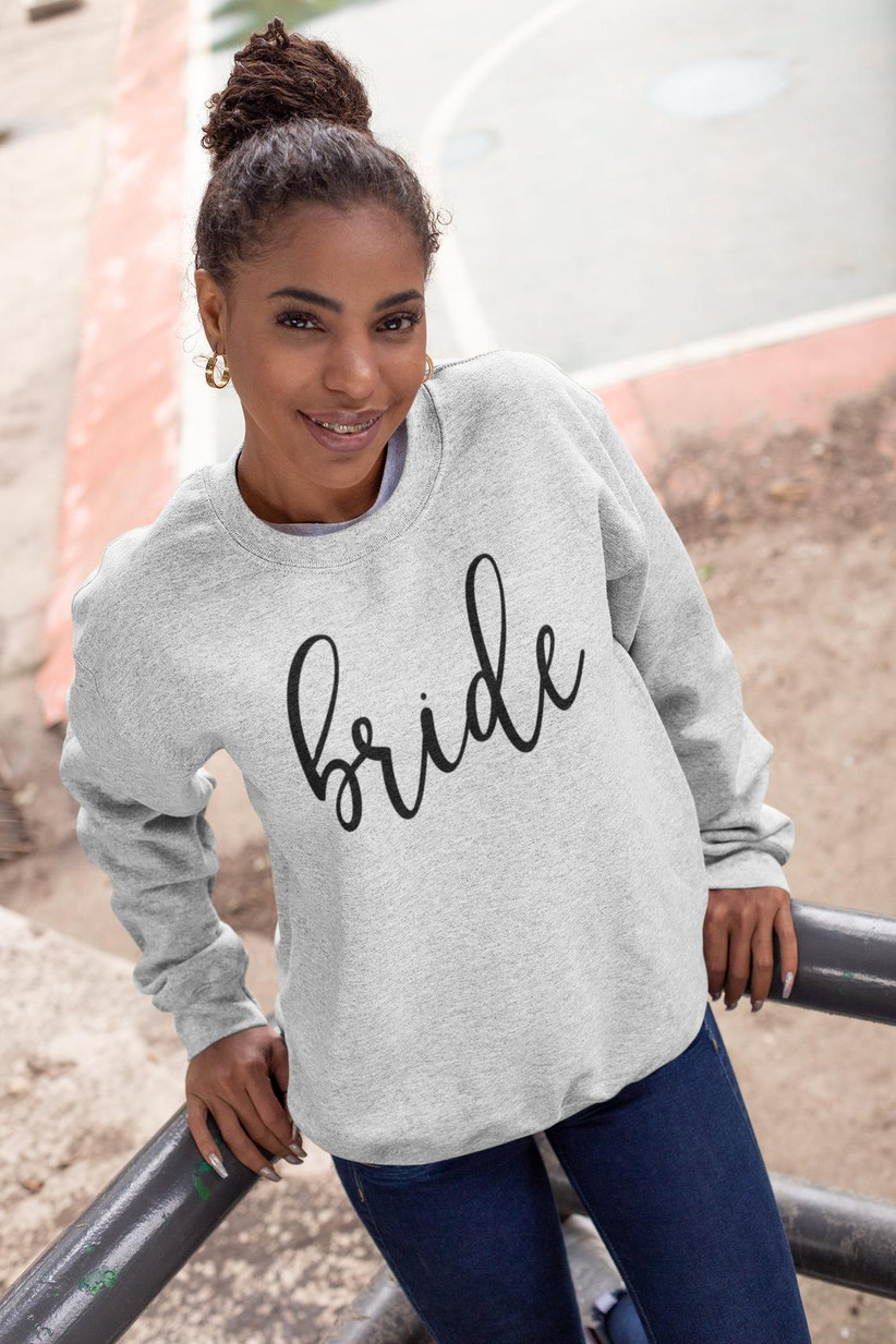 gray bride sweatshirt