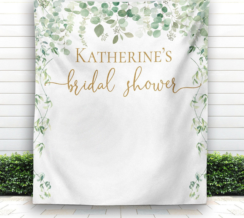 greenery bridal shower photo backdrop