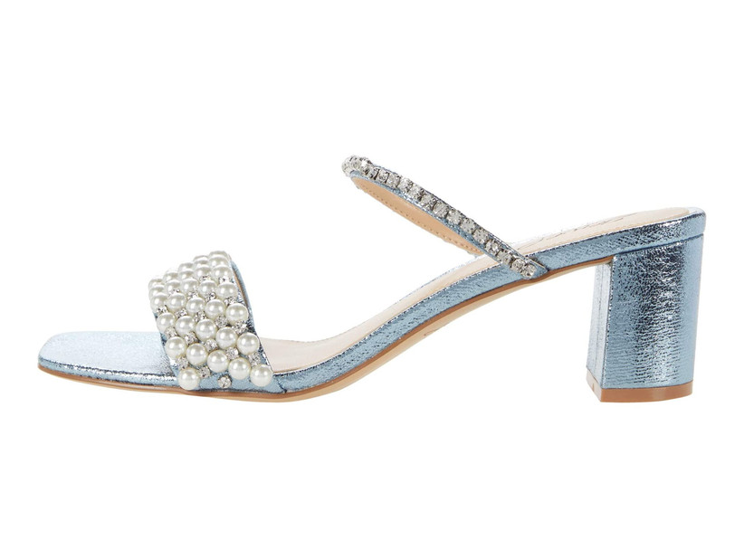 light blue metallic heeled sandal with pearl straps