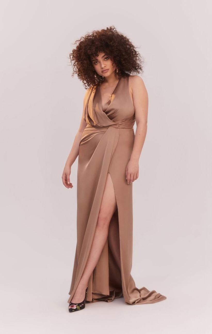Formal neutral maxi dress for fall wedding guest