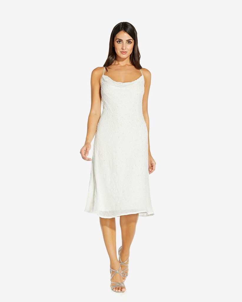 white beaded engagement party dress slip dress silhouette with cowl neckline and spaghetti straps