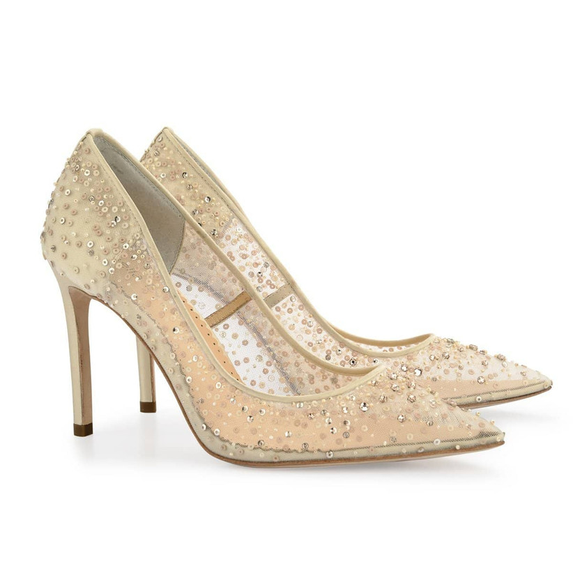gold wedding shoes with stiletto heel and sequins