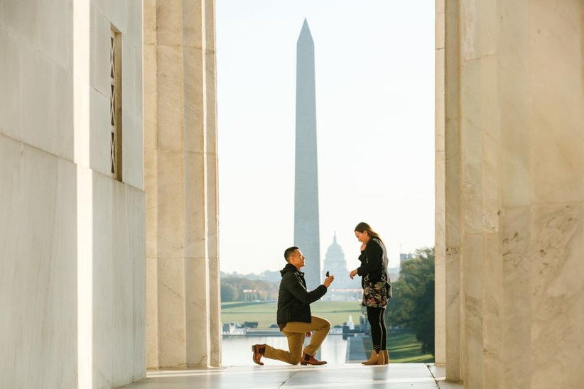 washington DC proposal at jefferson memorial view of washington monument