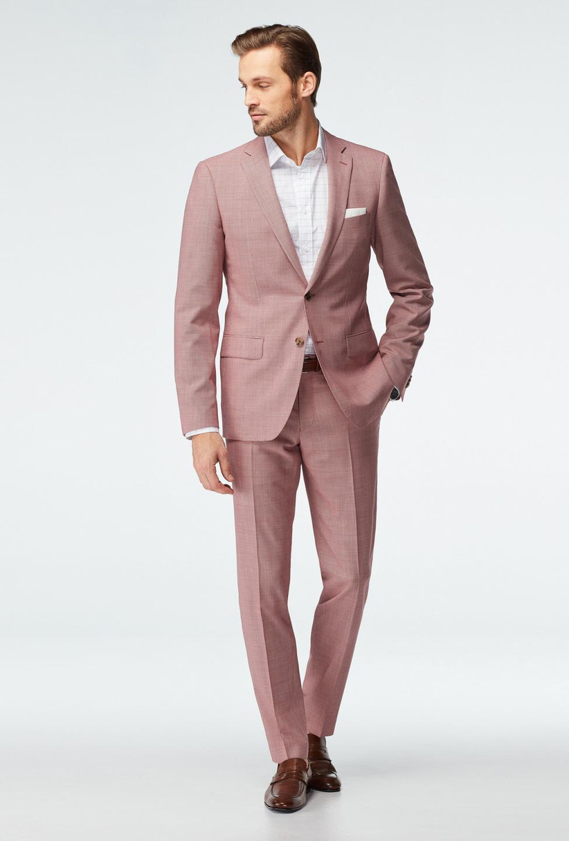 Unsaturated red hue summer wedding suit made with lightweight wool