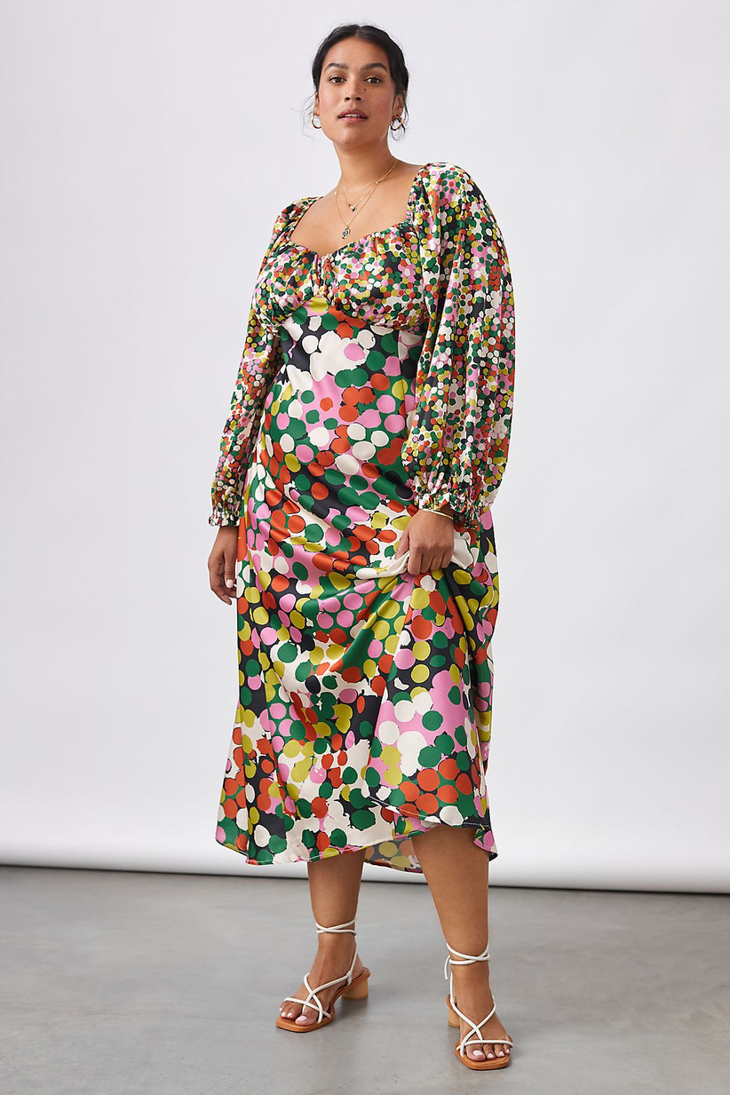 Anthropologie colorful dot long-sleeve midi dress
