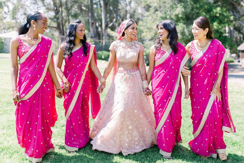 pink saree indian bride attire