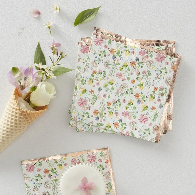 Vintage floral patterned napkins with pretty metallic trim