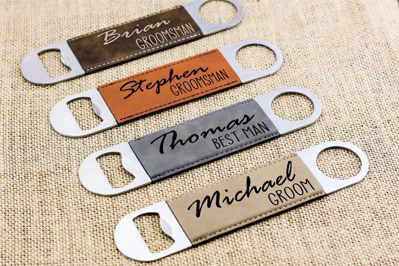 Personalized leather bottle openers groomsmen gift idea