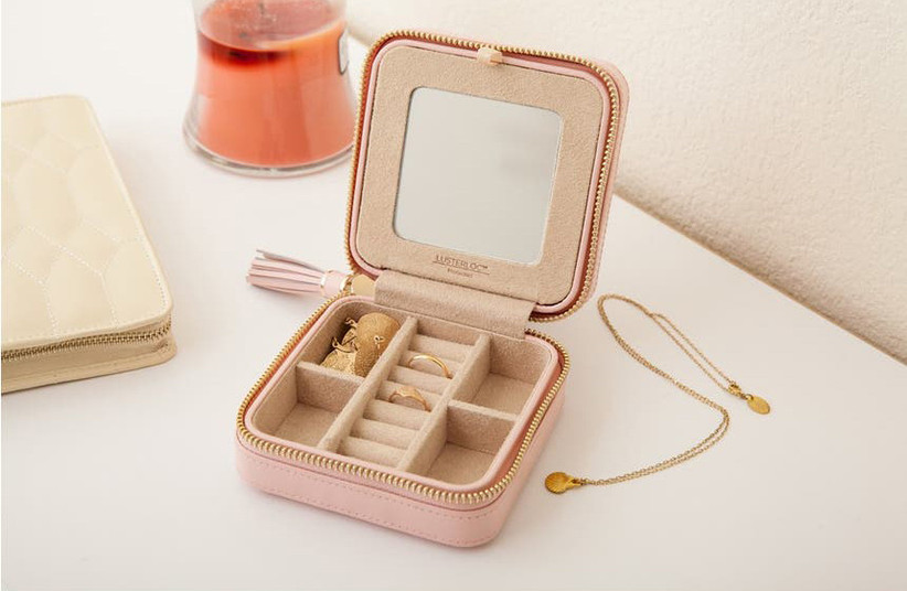 Blush pink travel jewelry case mother of the groom gift