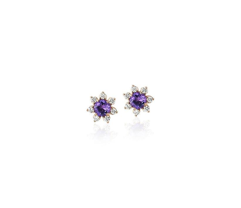 amethyst and diamond starburst earrings