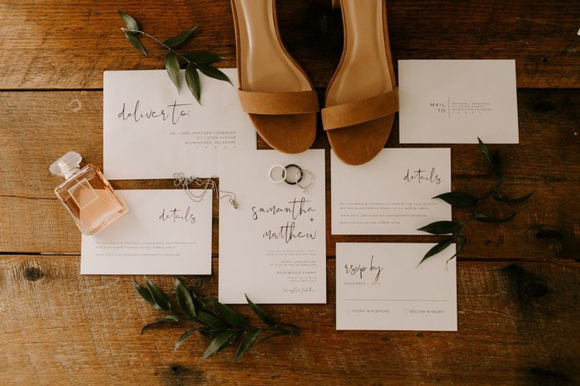 minimalist wedding stationery