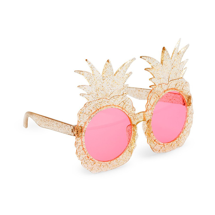 gold glitter pineapple-shaped sunglasses with pink lenses