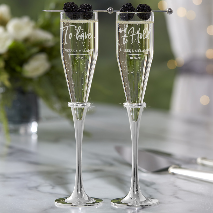 To Have and to Hold wedding champagne flutes