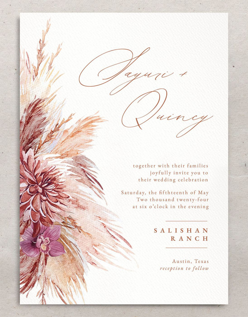 boho fall wedding invitation with watercolor pampas grass and floral illustration in pink and taupe color scheme