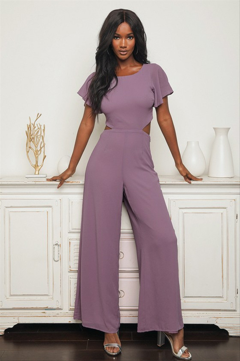 purple bridesmaid jumpsuit with side cutout