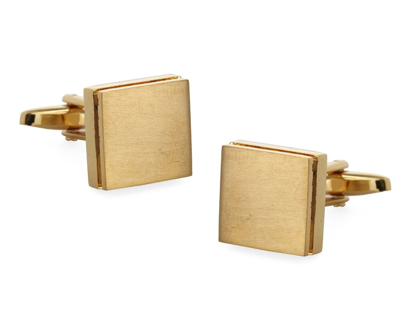 Square yellow-toned metal cuff links for wedding
