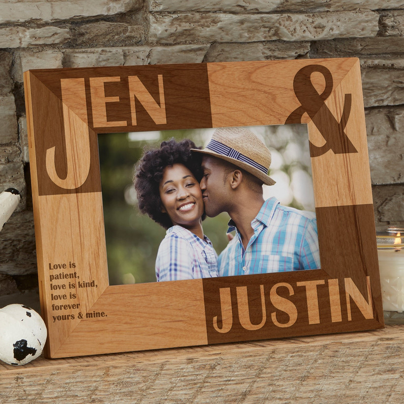 Personalized wooden photo frame with couple's name, a sweet photos, and a romantic quote