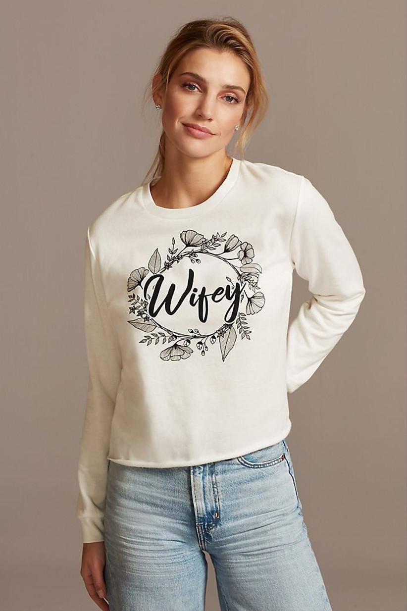 white floral wifey sweatshirt
