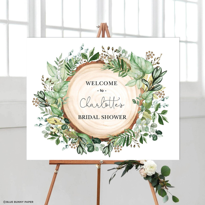 tree slice and greenery bridal shower sign