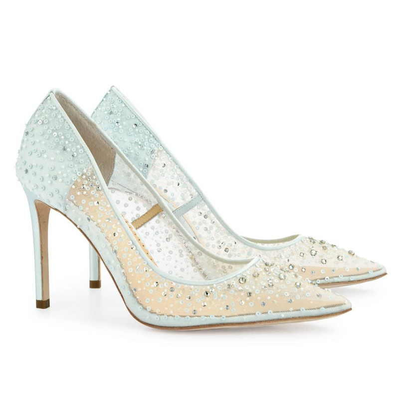 blue wedding shoes sheer mesh pumps embroidered with crystal sequins and beading