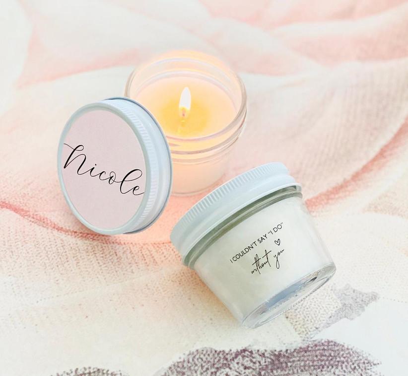 Personalized candles bridesmaid box idea